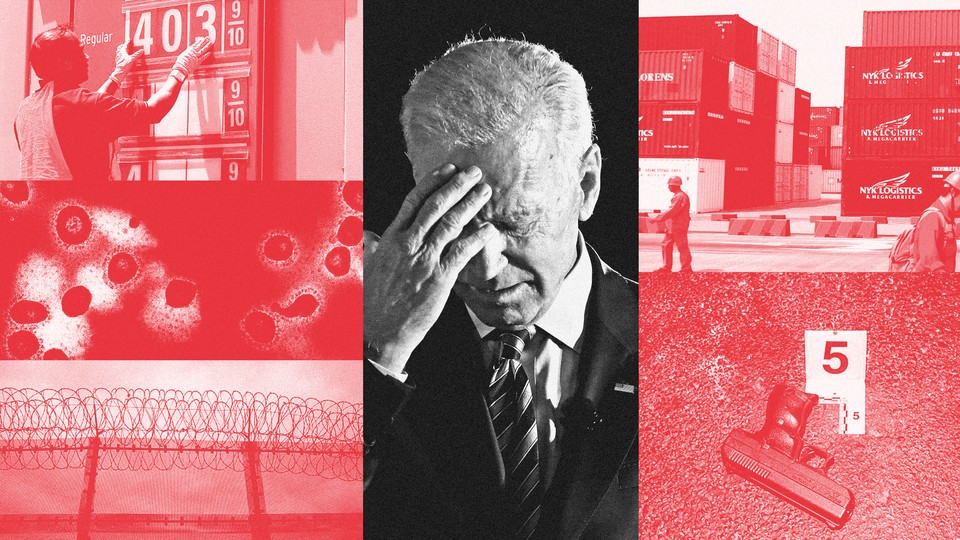 Collages of red photos, depicting the coronavirus, a gas-price sign, shipping containers, a gun, and part of the border wall, frame a single black-and-white photo of Joe Biden looking down with his hand to his forehead.