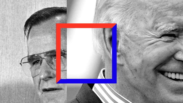 An illustration of George H. W. Bush and Joe Biden