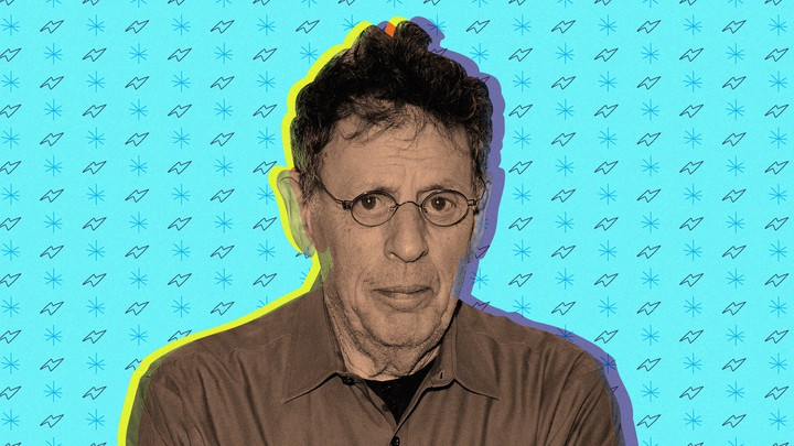 A photo illustration of Philip Glass