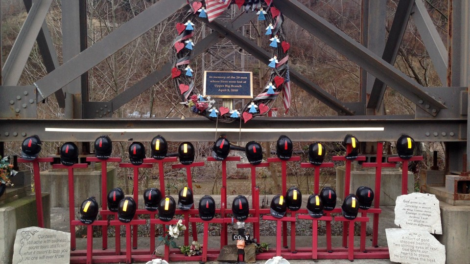 A memorial to the 29 miners killed in a 2010 explosion at the Upper Big Branch mine in West Virginia