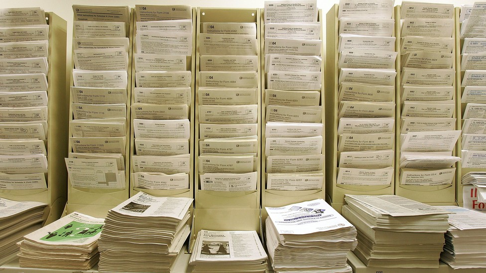Income-tax forms at the Des Plaines Public Library in Illinois
