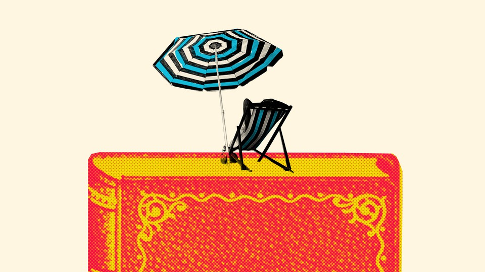 a beach chair and umbrella sitting atop an image of a book
