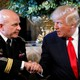 President Donald Trump shakes hands with his new National Security Adviser Army Lieutenant General H.R. McMaster.