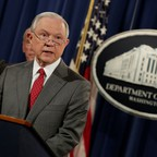 U.S. Attorney General Jeff Sessions makes a speech at the Department of Justice in Washington.