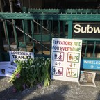 White tulips and signs for accessible transit lay outside the 7th Avenue subway station