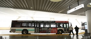 A bus at a San Francisco bus terminal.