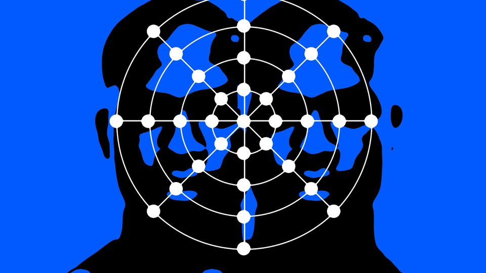 An illustration shows two abstract faces overlaid by the spiderweb-like nodes of a facial-recognition system.