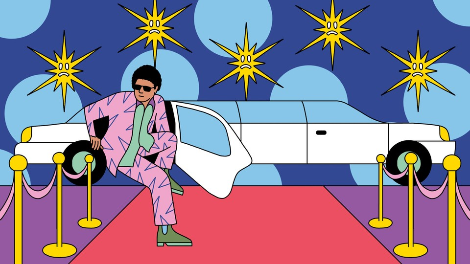 An illustration in which a person in a colorful suit exits a limousine onto a red carpet, with frowny-faced camera flashes in the background
