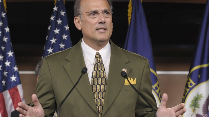 Representative Tom Marino of Pennsylvania, Trump's nominee for drug czar, speaking at a podium