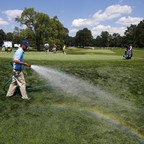 A groundskeeper at a country club in Rochester, New York