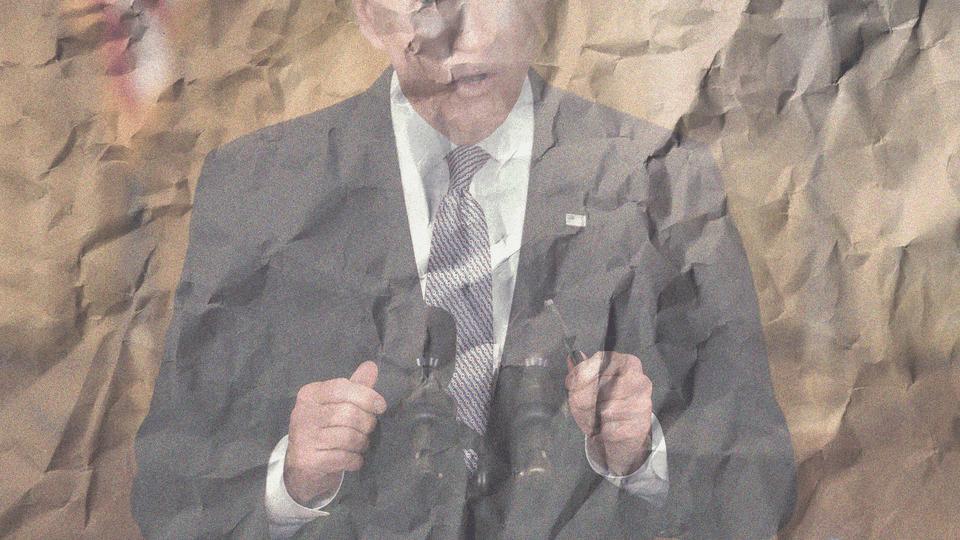 A photo illustration of Joe Biden on a crumpled brown-paper bag