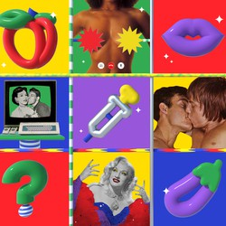 A collage of images related to online hookup culture during the pandemic