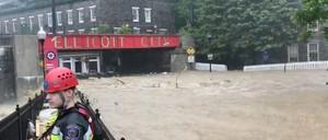 Floodwaters surge through Ellicott City, Maryland