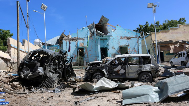 A view shows the destruction and wreckages of cars after the attack on June 20, 2017.