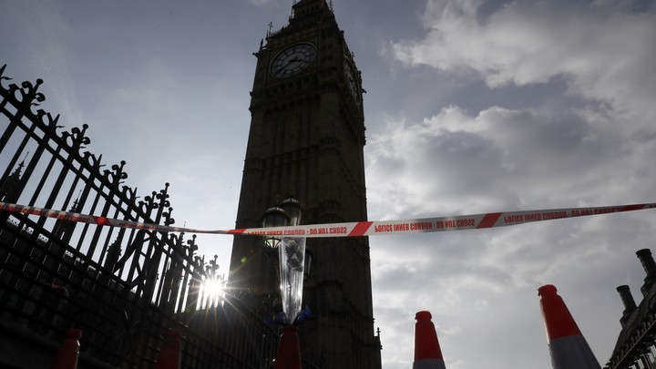 The Houses of Parliament in Westminster seen the day after an attack in London on March 23, 2017.