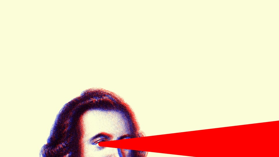 An illustration of a man with a laser shooting out from his eye.