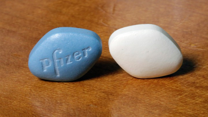 blue and white diamond-shaped pills from Pfizer known as viagra