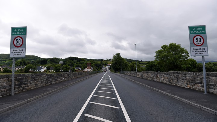 The Belcoo and Blacklion bridge, which served as a hard border between Northern Ireland and the Republic of Ireland until 1998, pictured in Belcoo, Northern Ireland on July 4, 2016.