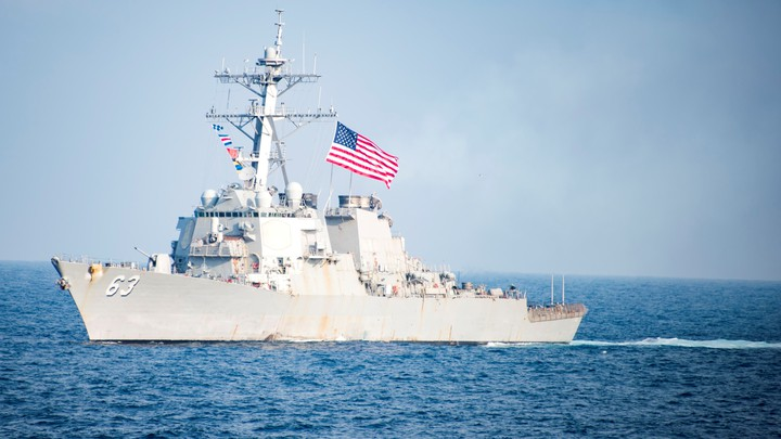 The Arleigh Burke-class guided-missile destroyer USS Stethem transits waters east of the Korean peninsula during a photo exercise.