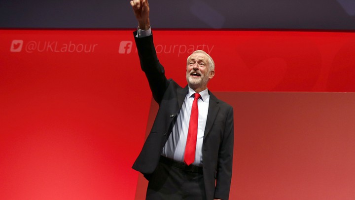 Labour Party leader Jeremy Corbyn reacts after the announcement of his victory in the party's leadership election.
