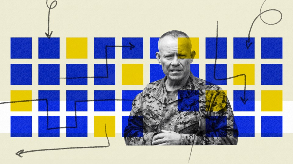Lieutenant General Larry Nicholson pictured next to blue and yellow boxes.