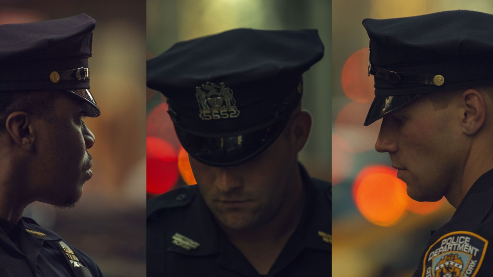 A triptych of portraits of police officers in uniform. The first looks away from the camera; the second and the third look down.