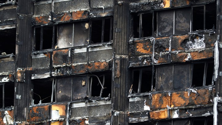Damage to Grenfell Tower is seen following the catastrophic fire, in north Kensington, London.
