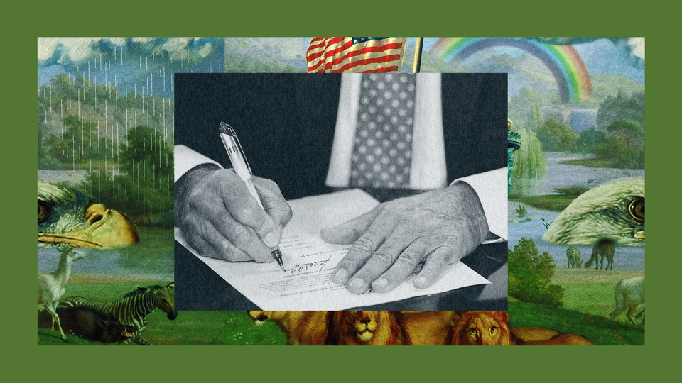 The hands of President Joe Biden signing legislation into law. The image is set into a frame featuring The Experiment's show art.