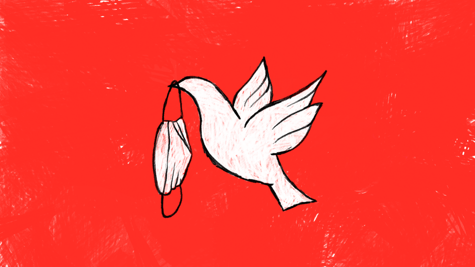 Illustration of a dove carrying a face mask.