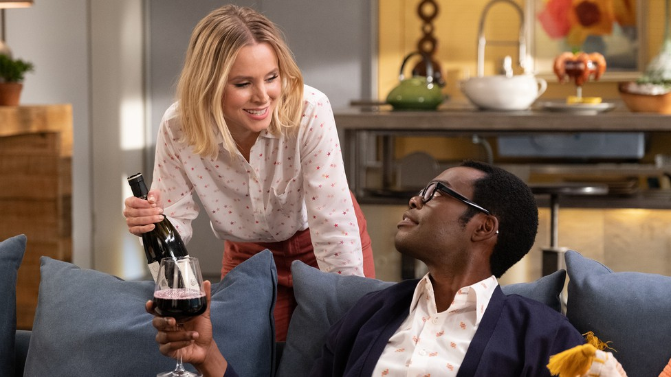 """Eleanor and Chidi in """"The Good Place"""""""