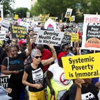 Demonstrators outside of the U.S. Capitol during a Poor People's Campaign rally.