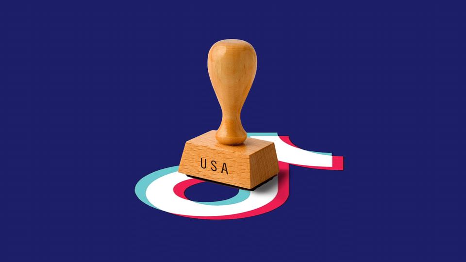 a USA stamp on top of the tiktok logo