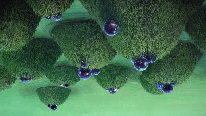 An illustration of upside-down grassy hills topped with cosmic blue spheres