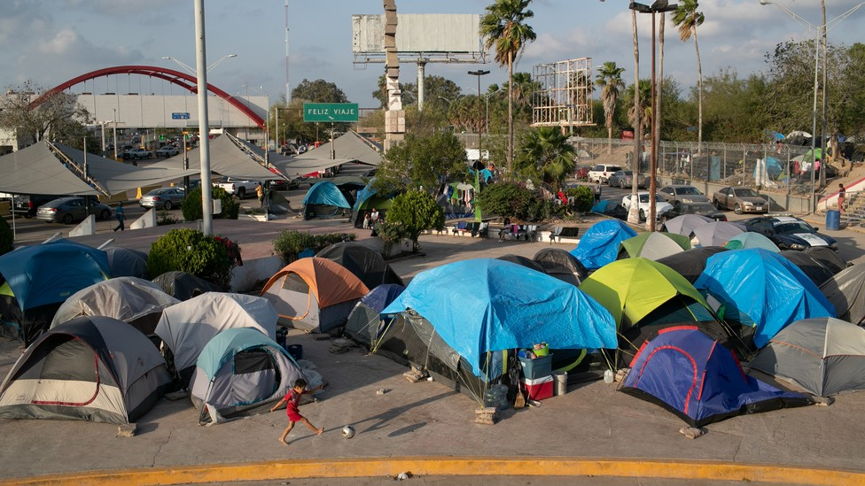 A camp for asylum seekers in Matamoros, Mexico, across the border from Brownsville, Texas.