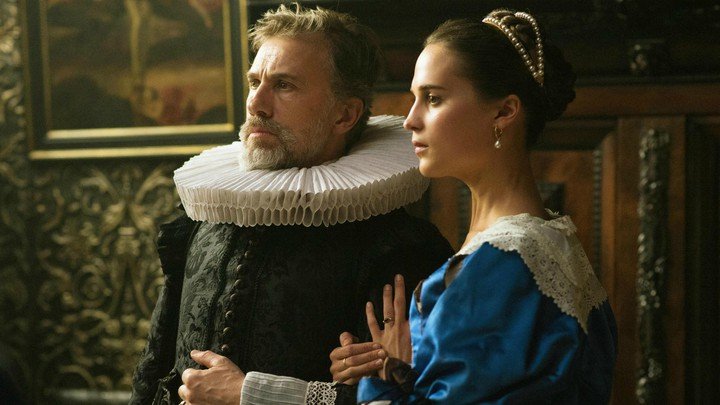 A still of Christoph Waltz and Alicia Vikander in the film 'Tulip Fever'