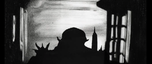 """A scene from """"NYsferatu"""" of the vampire's silhouette slowly melding into the city skyline."""