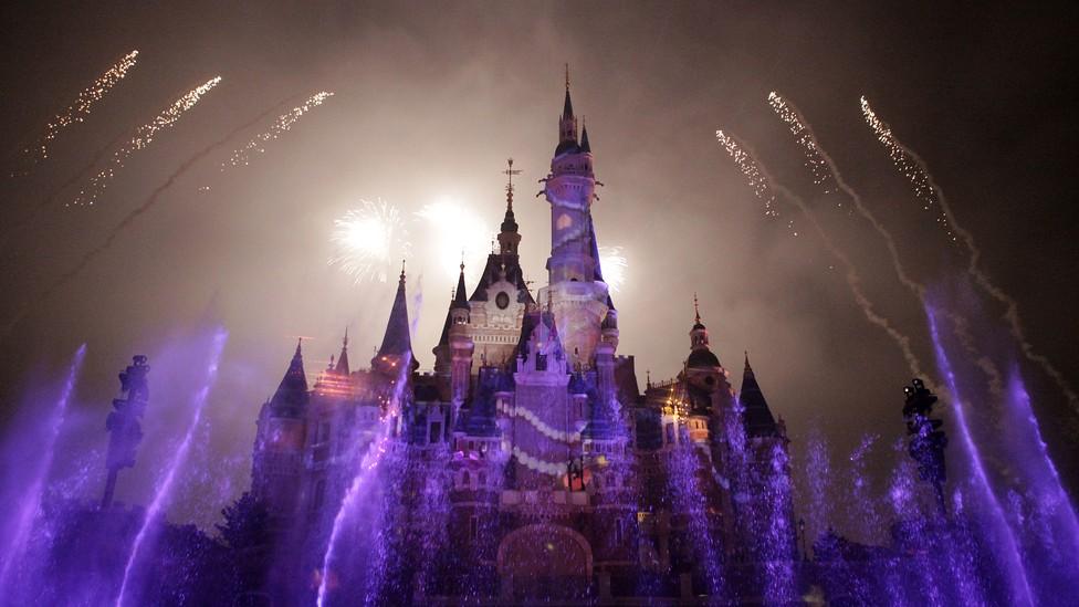 Fireworks over the main castle at Shanghai Disneyland Park
