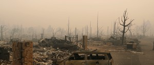 A residential neighborhood destroyed by the Tubbs Fire is seen along Fountaingrove Parkway in Santa Rosa, California.