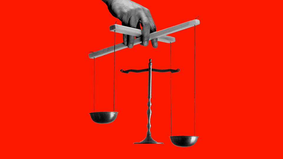 An illustration of the scales of justice transformed into a marionette