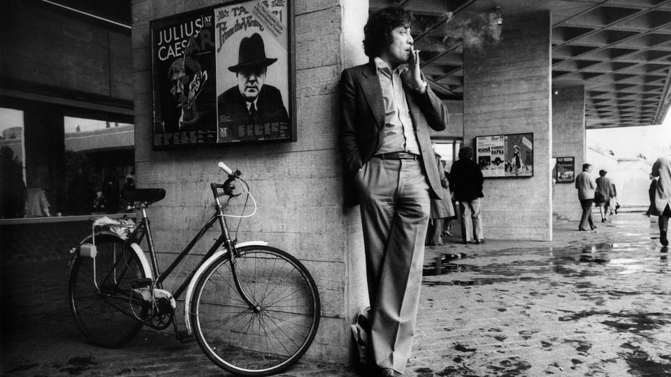 photo of Tom Stoppard smoking