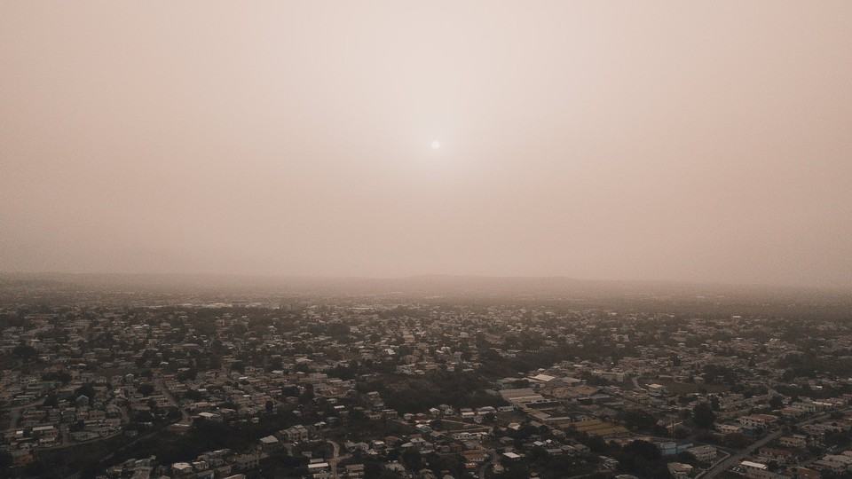 dust plumes from the Saharan dust storm over Barbados