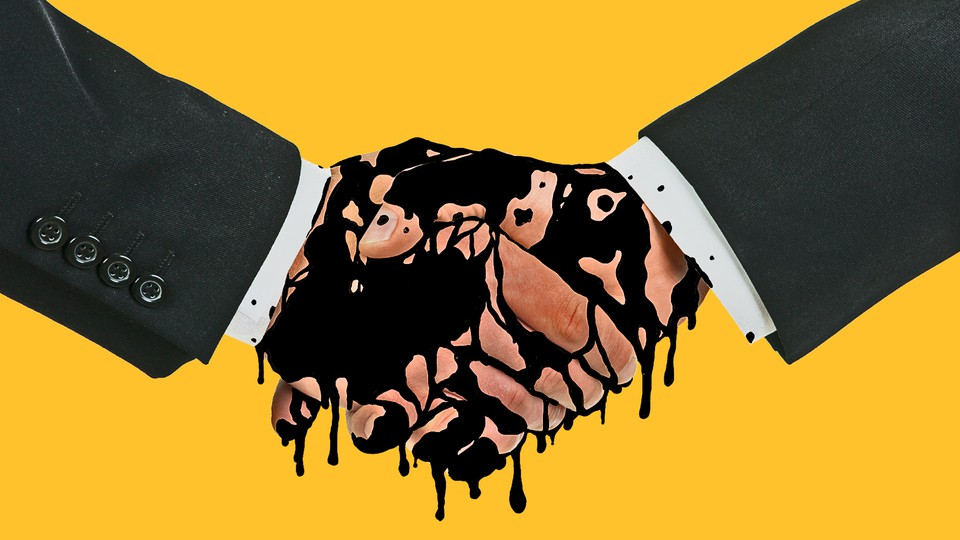 An illustration of two hands shaking, covered in oil.