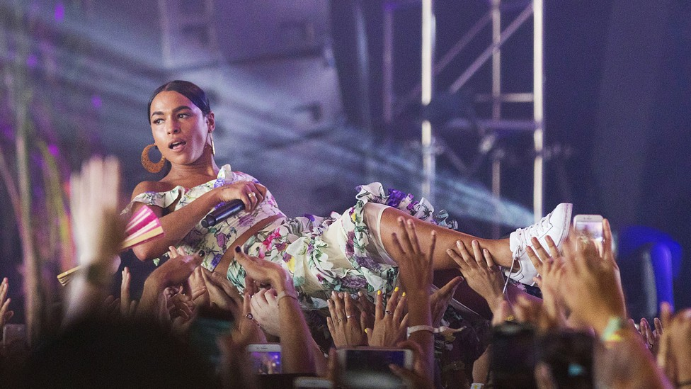 Princess Nokia crowd-surfs at FYF Fest at Exposition Park on July 22 in Los Angeles.