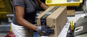 A worker at an Amazon fulfillment center in Baltimore.