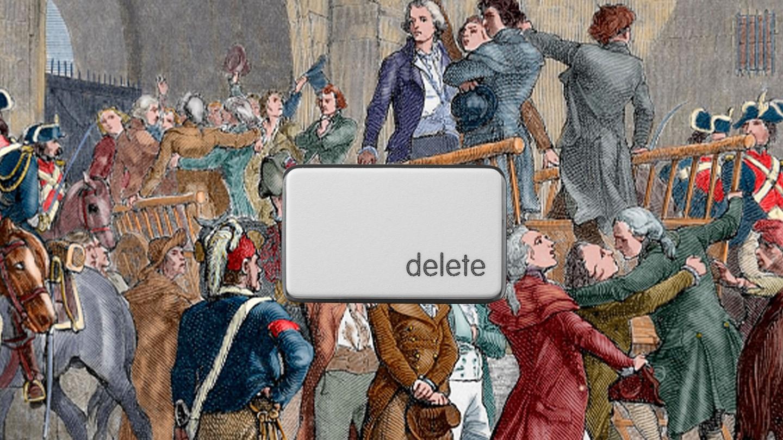 The delete button over a tumbrel