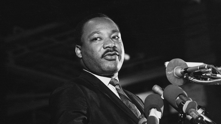 One of the last pictures to be taken of Dr. Martin Luther King Jr., speaking to a mass rally April 3, 1968, in Memphis