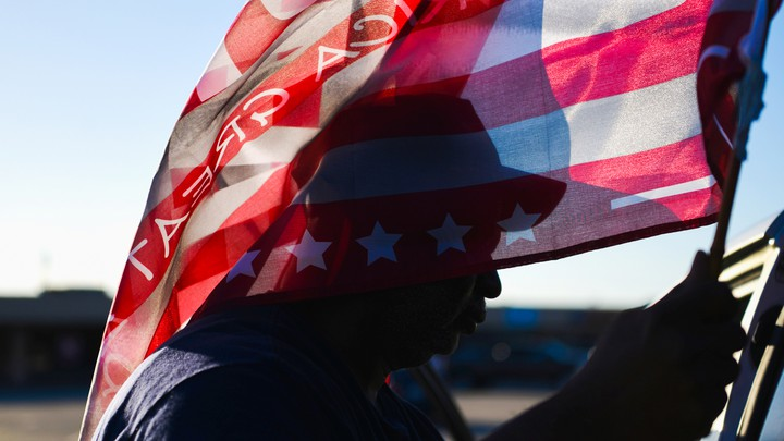 A man with an American flag