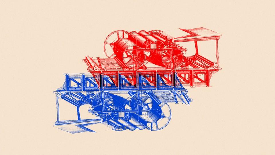 An illustration of printing presses