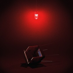 Fallen voting booth with red emergency light