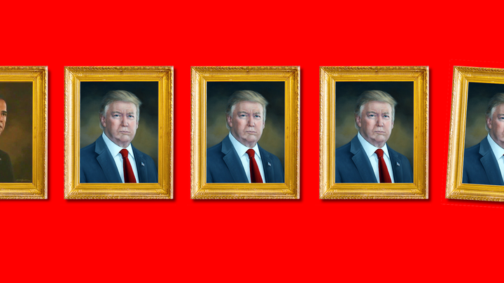 A series of portraits of Donald Trump.